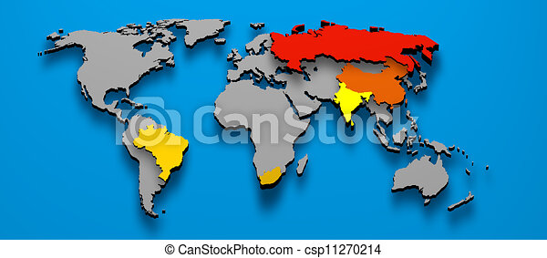 Brazil china russia india africa 3d illustration political map of brazil china russia india africa csp11270214 gumiabroncs Gallery