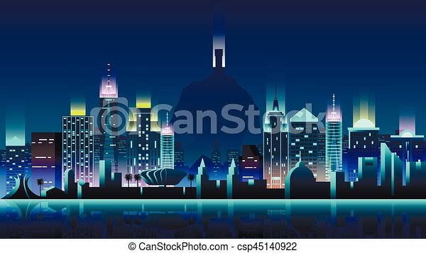 brazil city night neon style architecture buildings town country travel csp45140922