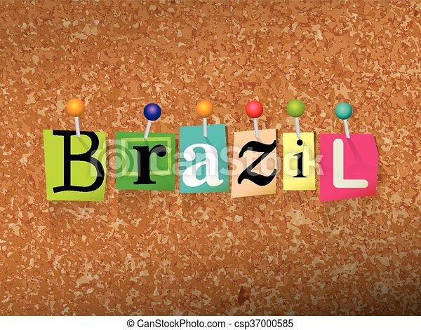 Brazil Concept Pinned Letters Illustration - csp37000585