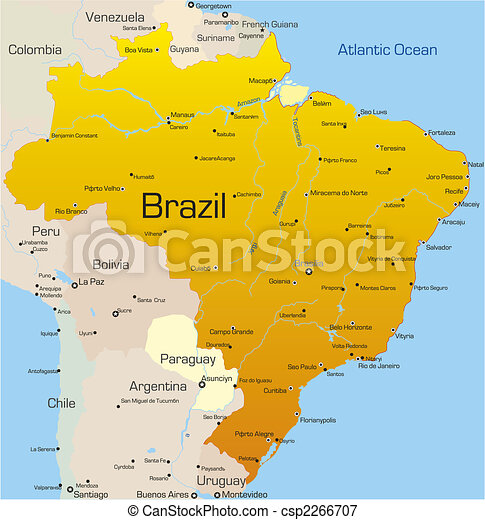 Abstract vector color map of brazil country.