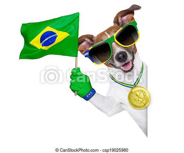 brazil fifa world cup dog - csp19025980
