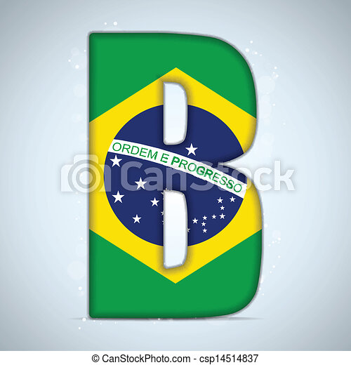 Brazil Flag Brazilian Alphabet Letters Words - csp14514837