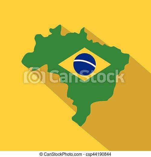 Brazil flag on Brazilian map, icon flat style