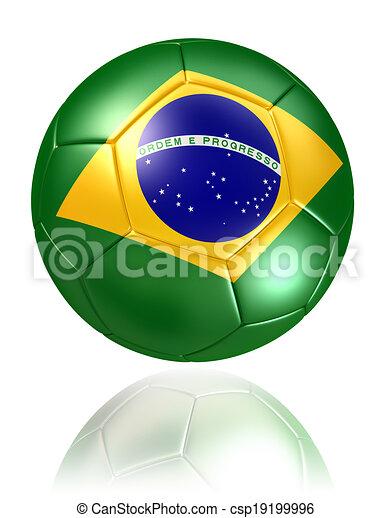 brazil flag on soccer ball on white background - csp19199996