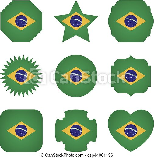 Brazil flag with different shapes on a white background - csp44061136