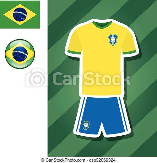 6359c750a21 Brazil football jersey sticker. Vector graphic flat icon sticker ...