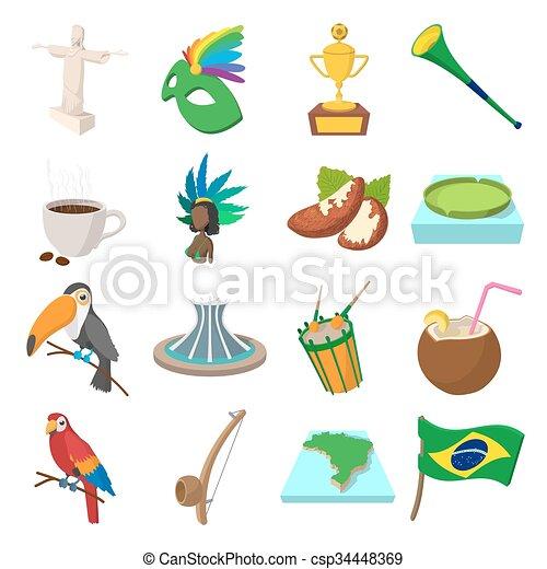 Brazil icons cartoon - csp34448369