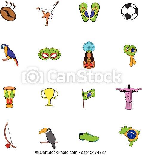 Brazil icons set cartoon - csp45474727