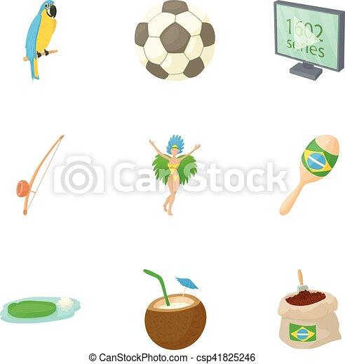 Brazil icons set, cartoon style - csp41825246