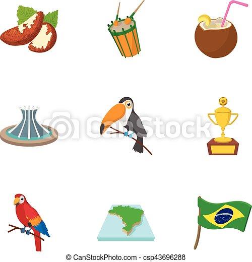 Brazil icons set, cartoon style - csp43696288