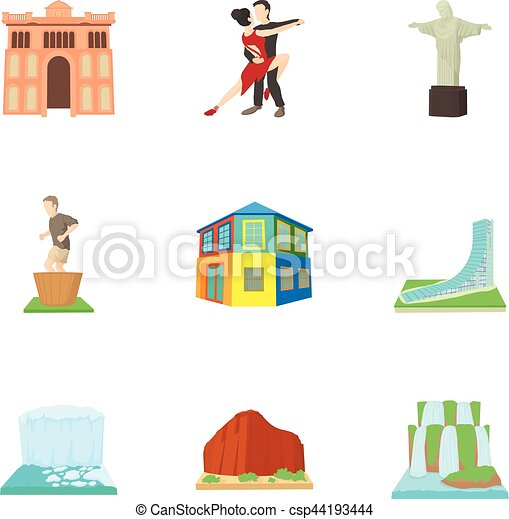 Brazil icons set, cartoon style - csp44193444