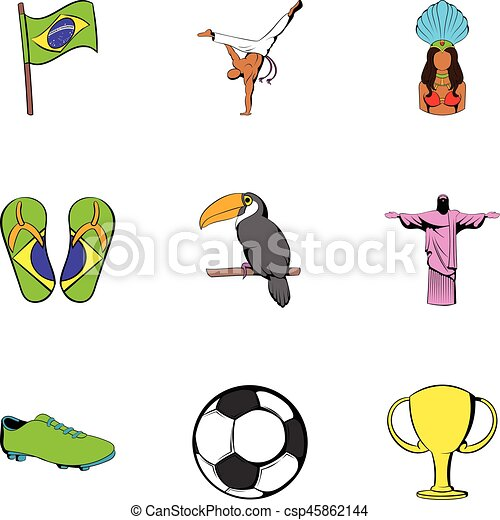 Brazil icons set, cartoon style - csp45862144
