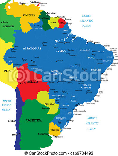 Brazil map. Highly detailed map of brazil with main districts and ...