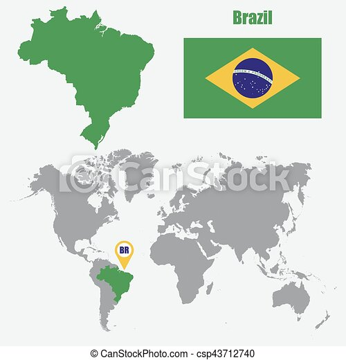Brazil map on a world map with flag and map pointer vector brazil map on a world map with flag and map pointer vector illustration gumiabroncs Image collections