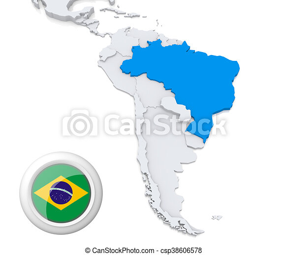 Brazil on a map of south america highlighted brazil on map stock brazil on a map of south america csp38606578 gumiabroncs Images