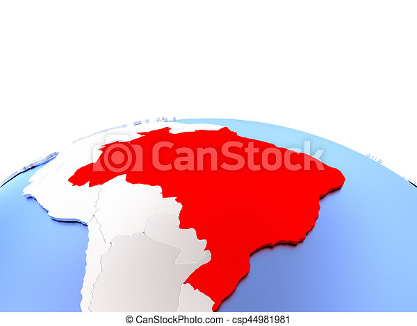 Simple Elegant Line Art : Brazil on globe in red color simple elegant stock