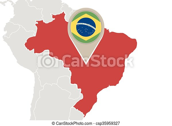 Brazil on world map map with highlighted brazil map and flag brazil on world map csp35959327 gumiabroncs Images