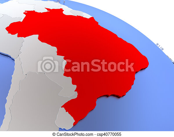 Brazil on world map map of brazil on elegant silver 3d globe with brazil on world map csp40770055 gumiabroncs Image collections