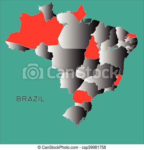 Brazil Outline Map On Blue Background Vector Illustration