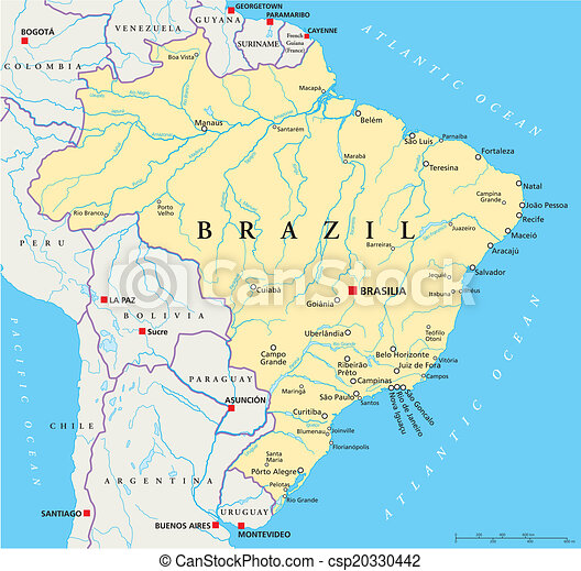 Brazil political map Political map of brazil with capital eps