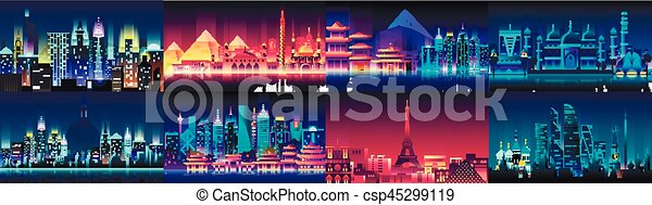 Brazil Russian France, Japan, India, Egypt China USA city night neon style architecture buildings town country travel - csp45299119