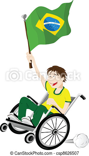Brazil Sport Fan Supporter on Wheelchair with Flag - csp8626507
