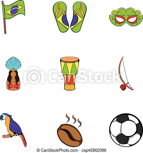 Brazil statue icons set, cartoon style - csp45862086