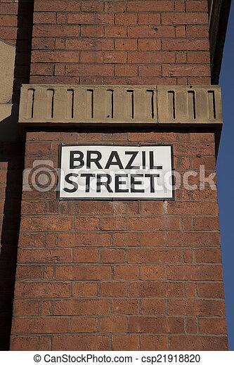 Brazil Street Sign, Manchester, England, UK - csp21918820