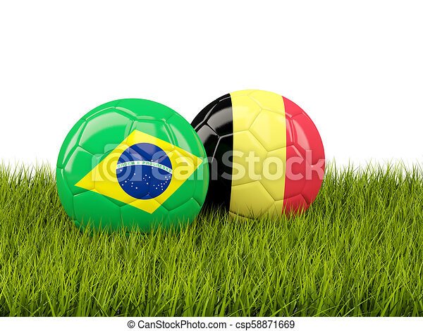 Brazil vs Belgium. Soccer concept. Footballs with flags on green grass - csp58871669
