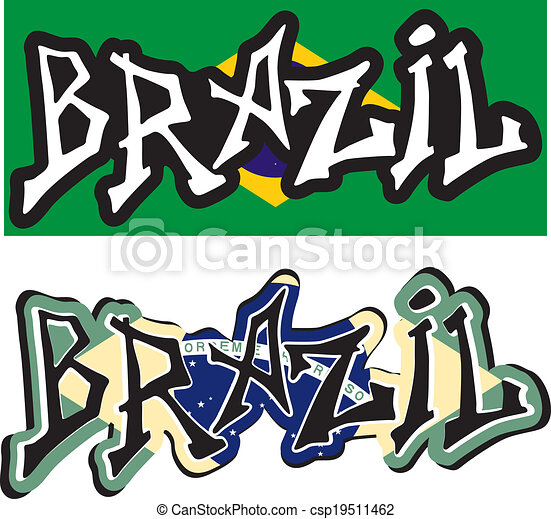 brazil word graffiti different style vector illustration