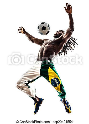 Brazilian  black man soccer player juggling football silhouette - csp20401554