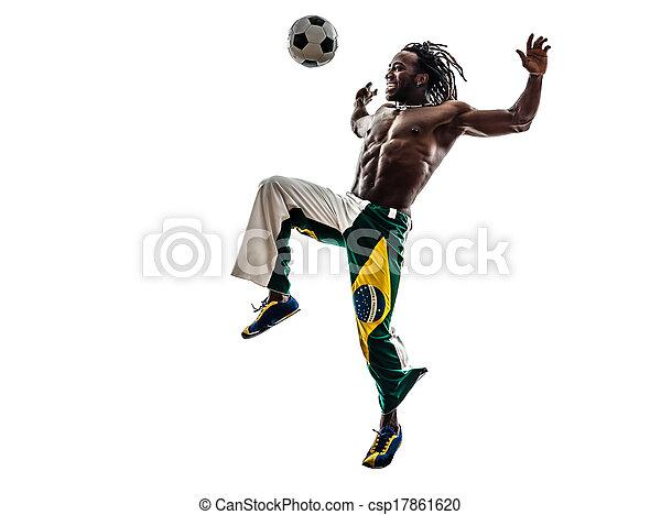 brazilian  black man soccer player juggling football silhouette - csp17861620
