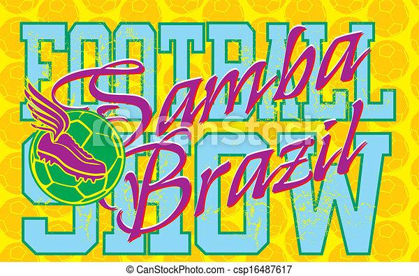 brazilian football retro style vector art - csp16487617