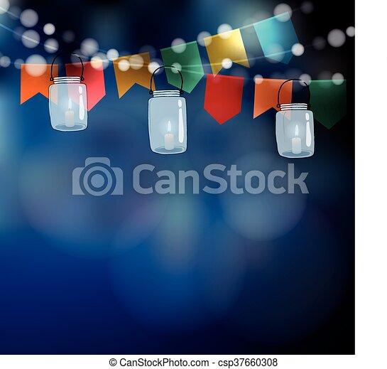 Brazilian june party. Festa junina. String of lights, party flags. Jar lanterns. Summer garden party. Blurred vector background - csp37660308