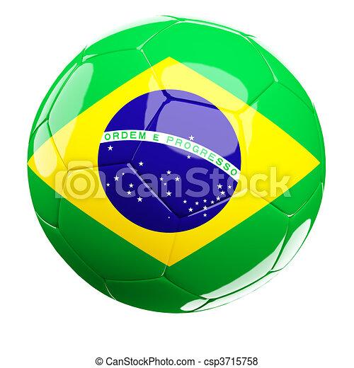 fe0bc4671 Brazilian soccer ball. 3d soccer ball and brazil flag isolated on white.