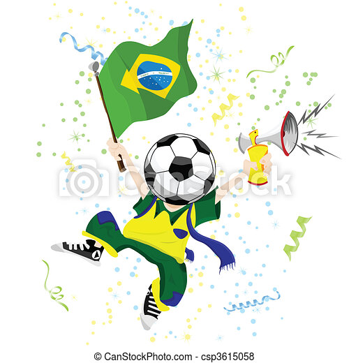 Brazilian Soccer Fan with Ball Head. - csp3615058