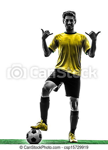 brazilian soccer football player young man saluting  silhouette - csp15729919