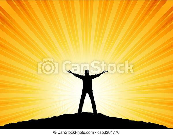 Hombre con brazos levantados - csp3384770