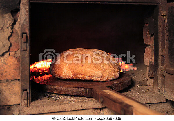 Bread Baking In The Old Oven Traditional Way On Pictures