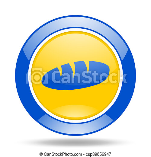 bread blue and yellow web glossy round icon - csp39856947