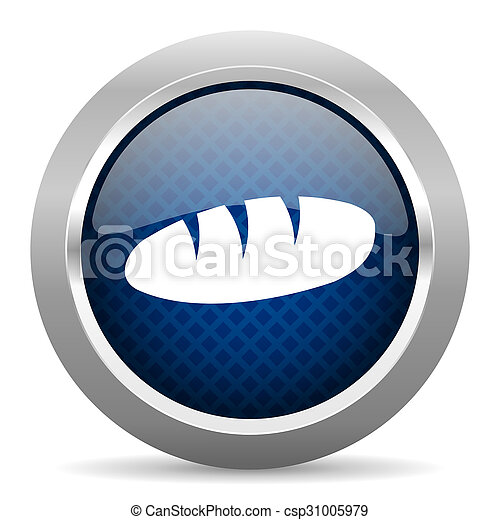 bread blue circle glossy web icon on white background, round button for internet and mobile app - csp31005979