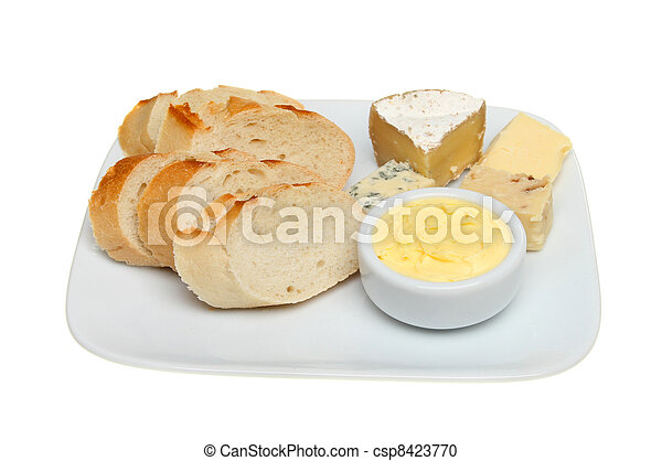 Bread cheese and butter - csp8423770