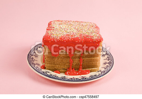 bread covered red coulis - csp47558497