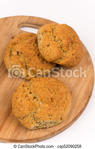 Bread loaf on wooden board - csp52090258