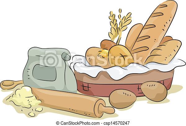 bread, materiali, ingredienti cuociono forno - csp14570247