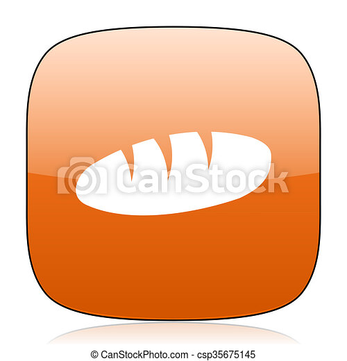 bread orange square web design glossy icon - csp35675145