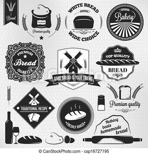 bread set bakery vintage labels  - csp16727195
