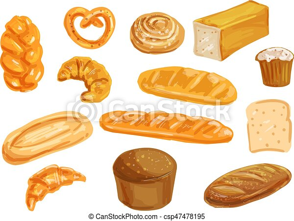 Bread Watercolor Set For Bakery Shop Design Bread And Bun Watercolor Set Wheat And Rye Bread French Baguette And Croissant Canstock