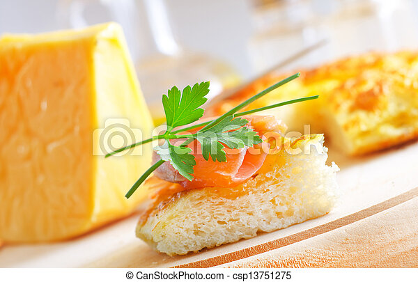 bread with salmon - csp13751275