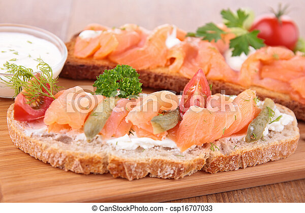 bread with salmon - csp16707033